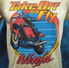 NOS vtg 80s KAWASAKI NINJA 1000R MOTORCYCLE T-Shirt XS/S motocross biker thin