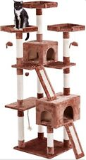 """Cat Tree For Large Cats 72"""" Climbing Tower Condo House Scratching Post Furniture"""