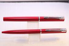 Vintage Waterman Apostrophe Medium Fountain Pen & Ballpoint, Metallic Red, Cased