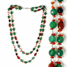 Green & Red Agate, Carnelian, Black Onyx & Fresh Water Pearl Necklace (Size 24)