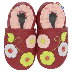 carozoo 3 flowers leaf dark red 0-6m new soft sole leather baby shoes