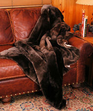 Real Sheared Mink Fur Throw or Blanket in Natural Brown, Twin Size