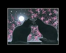 Black Cat ACEO A Night For Two Print By I Garmashova
