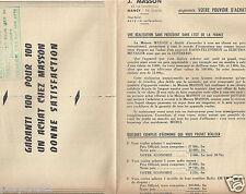 Publicité ancienne _J. MASSON Appareil Radio Télé Electroménager Lustrerie Tarif