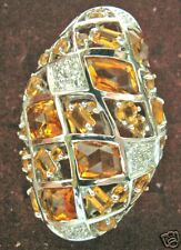 HUGE 18K W GOLD DIAMOND 4.5CT GOLDEN TOPAZ SPARKLE RING