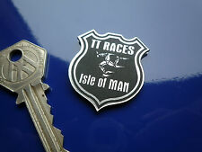 ISLE OF MAN TT RACES Shield Style35mm Self Adhesive Bike BADGE Laser Cut Manx GP