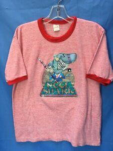 """VTG 1970's Glitter Ringer """"Pool Shark"""" T-Shirt in XL"""