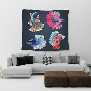 Large Wall Hanging Tapestry Betta Fish Cotton Print Art Bedspread Throw Cover UK