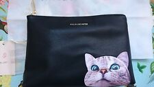 BNWT Paul and Joe Sister Elvire Clutch, Purse, Zip bag, Cat, Black PU