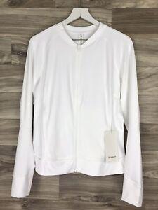 Lululemon Nulux UV Protective Run Jacket 4 Way Stretch Size 12 White WHT 01978