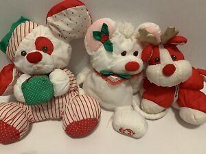 Fisher Price Puffalump Plush Lot Christmas Mouse Dog Reindeer