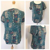 Laura Ashley 14 Top Green Floral Button Up T Shirt Blouse Summer Pretty Boho WT9