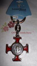 St Saint Benedict Cross Medal  Key Chain Red