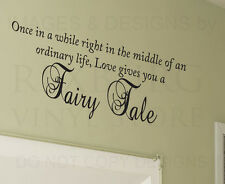 Wall Quote Decal Vinyl Sticker Art Large Graphic Love Gives You a Fairy Tale L18