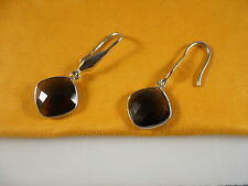 Sterling Silver, Faceted Free Form Diamond Shape Smoky Quartz Earrings
