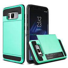 Card Holder Slot Pocket Wallet Rugged Hybrid Armor Case for Samsung Galaxy S3