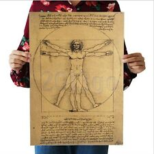 Leonardo Da Vinci Manuscripts Vitruvian Man Kraft Paper Poster Art Home Decor CG