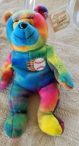 Nolan Ryan Autographed 1999 PROMO Tie-dyed Beanie Bear Only 350 Certified auto's