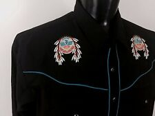 ELY DIAMOND Black Western Cowboy Shirt - Thunderbird Embroidered - XXL