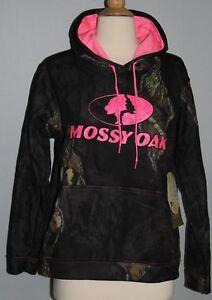 New MOSSY OAK Break-Up Eclipse Black Camo Hoodie Ladies Size S or M Sweatshirt
