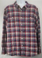 American Rag Cie Mens Shirt Sz XXL Red Blue Plaid Long Sleeve Button Front