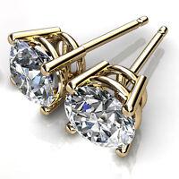 1.00 Karat Diamant Solitaire Rund Schliff Ohrringe 14K Massiv Gelbgold Hochzeit