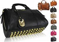 New Ladies Celebrity Leather Style Stud Satchel Barrel Bag Women Studded Handbag