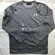 UA men's under armour rival crew sweatshirt poly fleece grey S M L XL bnwt