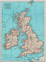 1942 Antique BRITISH ISLES Map of the United Kingdom Map England Scotland 8058