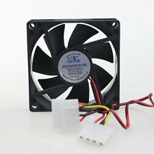 80mm 80x80x25mm DC 12V Dual 4 Pin PC Computer Cooler Fan Sleeve Bearing 7 Blades