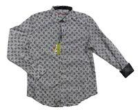 NWT Robert Graham Alamosa Mens M Gray Paisley Flip Cuff Button up Shirt