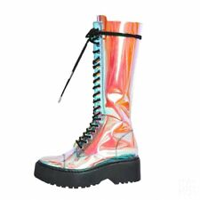 New Women Street Military Combat Mid Calf Chunky Heels Lace Up Punk Riding Boots