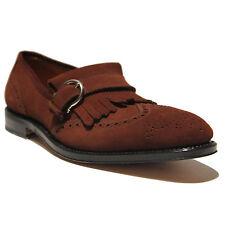 FERRAGAMO Sebastiano TRAMEZZA Monk Strap Brown Suede Mens 9.5 42.5 Dress Shoes