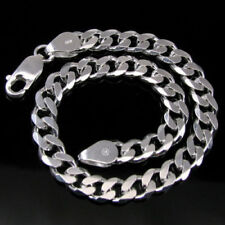 Men's Silver Bracelet Pure solid 925 Sterling Silver Curb Link Wrist chain