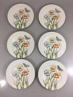 "Fitz & Floyd Pastel Poppy Set 6 Salad Plates 7.5"" Japan 1976 Flowers Butterfly"