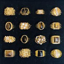 Rhinestone Cz Tigers Eye Gold Nugget Costume Lot 16 Flashy Men'S Rings Gold Tone