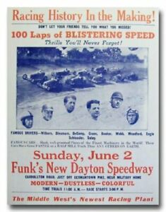 1940 Dayton Speedway vintage reproduction race poster print 1940's 40's racing