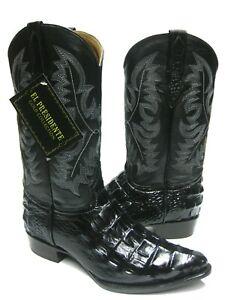 Mens Black Crocodile Back Pattern Cowboy Boots J Toe Rodeo Botas