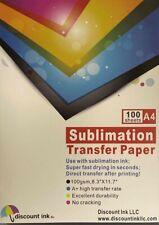100 Sheets A4 Sublimation Heat Transfer Paper For Inkjet Printer Mug T Shirt