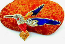 Retro Vintage Style Brooch Blue Big Vibrant Hummingbird Wings Rhinestone Enamel