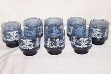8 70's Libbey Mary Gregory Rock Glasses Dog Girl Boy Painted In Original Box 9oz