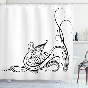 Animal Shower Curtain Black Swan in River Print for Bathroom