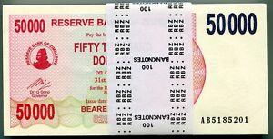 Zimbabwe 50000 Dollars 2007 Original 100 Uncirculated Banknote Bundle P47 AB
