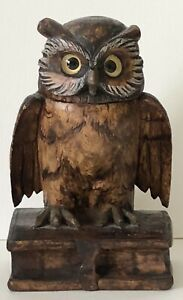 Antique Black Forest German Hand Carved Wood Wise Owl On Books Desk Inkwell