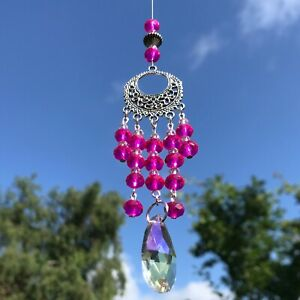 New Hanging Sun Catcher ~ Pink ~ Glass Crystal Drop ~ Tranquility ~ Ethnic style