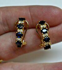 14k Yellow Gold 2.00ct Blue Sapphire & .24ct Diamond Omega Earrings $1,400.00