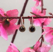 14k Rose Gold 1.17ct Diamond and Smoky Quartz Earrings