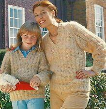 "1741 Ladies & Girls Chunky Jumper 24-42"" Vintage Knitting Pattern"