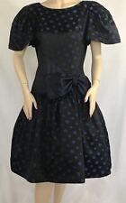 ICONIC 80's Vintage Lillie Rubin Black & Blue Polka Dot Bow Dress Sz.10 MUST SEE