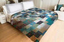 Handmade Silk Patchwork Kantha Quilt King Bed cover Blanket Bedspread Indian
